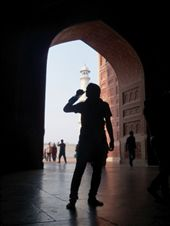 silhouette of man drinking water, standing between the gate.: by beyondimagination, Views[503]