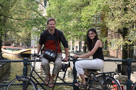 Harry & Ivana, posing in Amsterdam on a random tandem bike. Photo by Claire