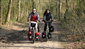 Harry & Ivana testing our new Santos bikes in the forests of Drenthe, the lovely provence in the North: by biketravellers, Views[724]