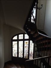 Paris -- 6 rue Parrot apartment -- stained glass in stairwell.01: by billh, Views[59]