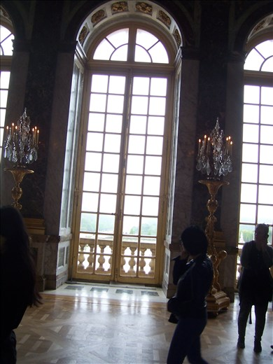 Versailles -- Hall of Mirrors -- window overlooking garden and fountains