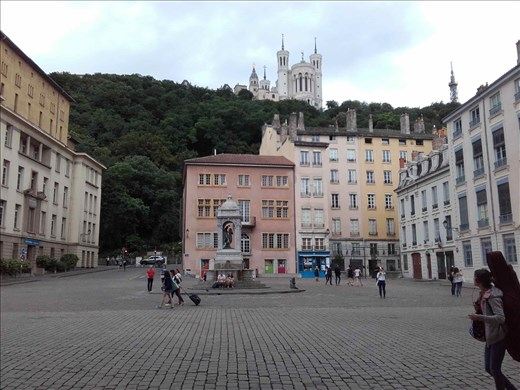 Lyon -- medieval city square in front of Cathedrale St Jean