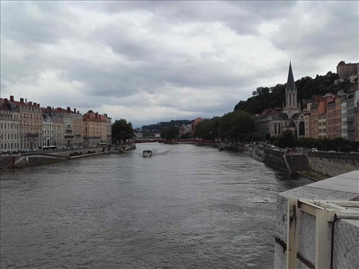 Lyon -- view of Saone River and medieval city from Pont Boaparte