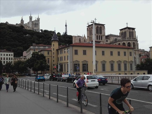 Lyon -- view of Basilique Notre Dame from Pont Bonaparte