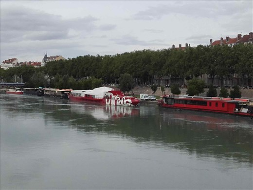Lyon -- view of boats on Rhone River from Pont Wilson