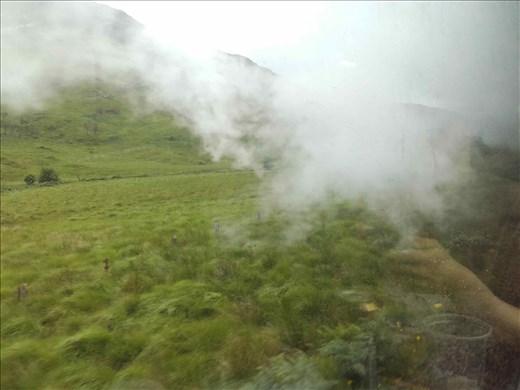 Scottish Highlands -- Ft William to Mallaig train -- smoke from train