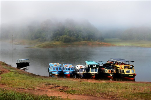 The tradition cruiser awaiting for tourists at the Prayer Lake in Kerala, India.