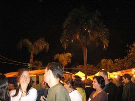Palm trees, tents and people at the church party.  The tents offer beer, hot wine with cinnamon and apples, various foods including pizza and couscous, as well as sweets.