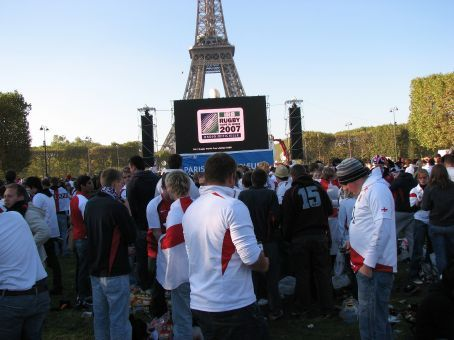 Eiffel Tower set up for game tonight