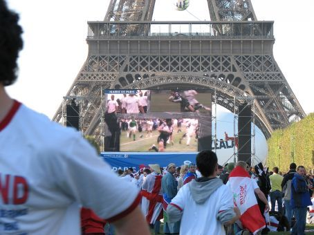 Big Screen for game at Eiffel Tower