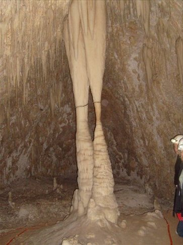 Apparently some tour guide in the 20s told tourists that columns like these held the cave up, then showed them these broken ones to scare them