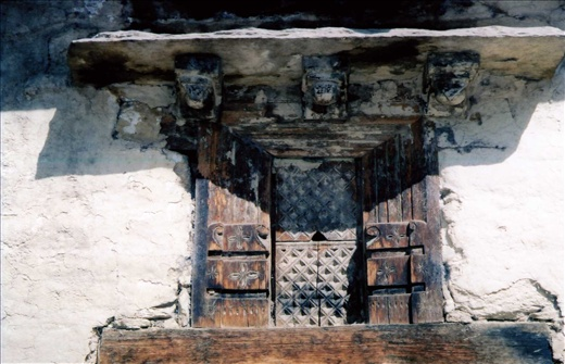 Traditional carved window frame