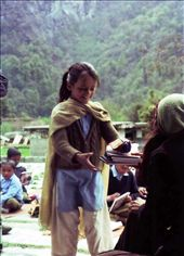 A very happy Deepa accepting some educational goodies at Jatoli School. : by bonnie, Views[533]