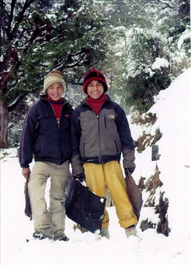 Mukesh and Subash ready to go 'sliding' in the snow