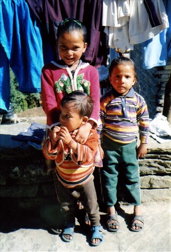 Deepa (Class 2) and her sisters Maya and Hema from Ritang (Ritang is a two 'Himalayan' kilometre walk from Khati.