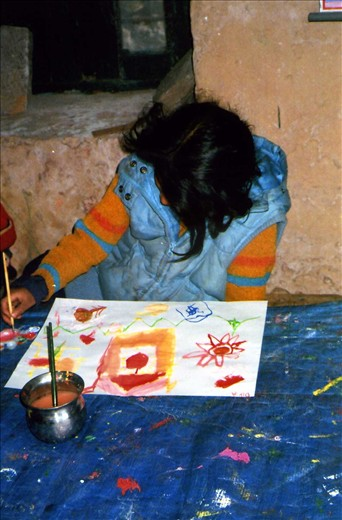 Dipia (Class 4) enjoying a session in art class during winter school 2013/14