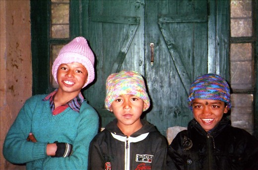 Ganesh (Class 5), Rohit (Class 3) & Vinod (Class 4) all rugged up for classes.