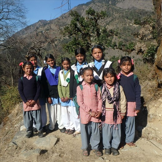 Waucham girls both big and small are heading up the 'hill' to school on a lovely sunny winters day