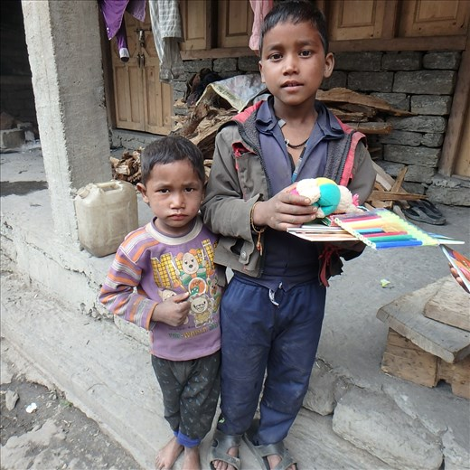 'The Boy's', two children from a Nepali workers family. They are currently getting great use out of the resources.