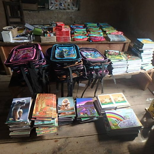 Education supplies in the library - they have already made the jeep journey from Bageshwar and a 7Km mule trip, now ready for assembling into 'kits' for the children of Jatoli (another 7km by mule). These supplies will keep the children in educational materials for the whole academic year ahead.