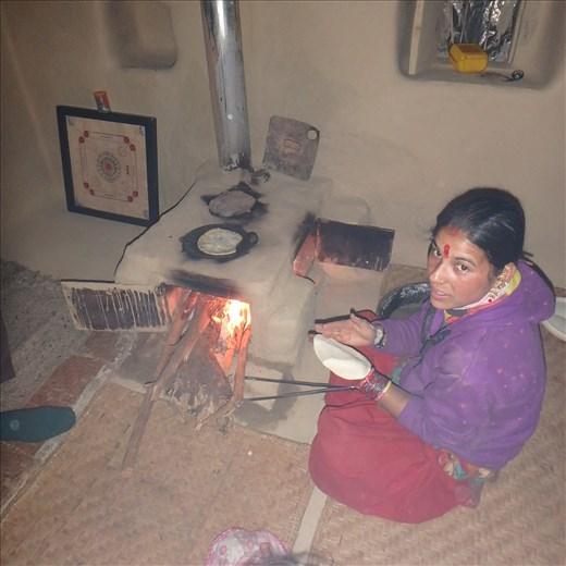 Dana making rotis (the nightly staple)