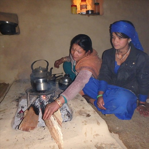 Saraswati & Pushpa getting ready to make a cuppa (note the open fire)