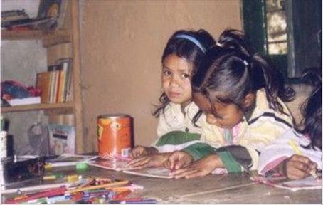 Bk's School. Class 2. L to R: Kavita & Karisima.