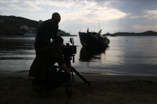 Capturing a sunset shot with Red Epic on the island of Kea