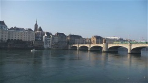 Looking back on Basel from the south side of the river