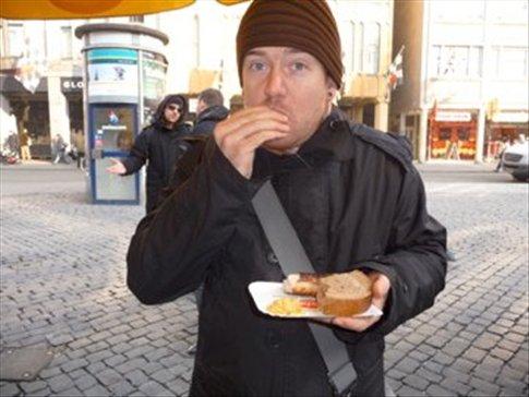 Brad munching down on some Bratwurst