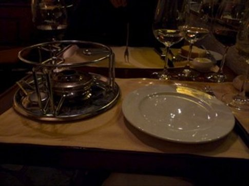 Dinner Friday night - fondue preparation