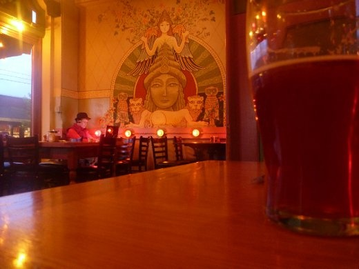 Amber lighting at the Bagdad Cafe, Hawthorne Blvd. Portland, Oregon
