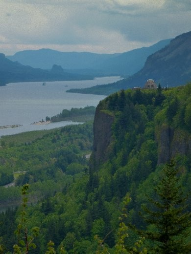 Scenic shot of Vista House, looking North through the Columbia river gorge