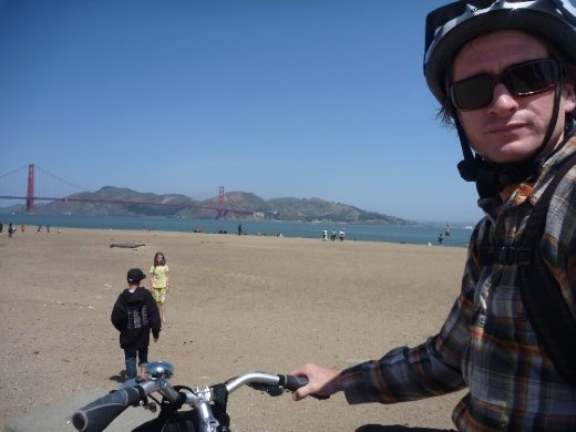 Cookie, his bike, and the Golden Gate Bridge