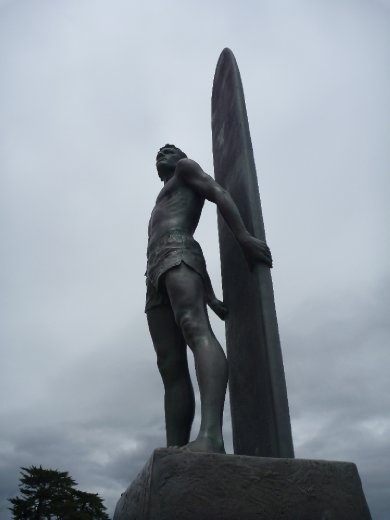 Proud surfers statue at Steamers. Its a shame that the same spot is renowned for aggro locals and crowded waves.
