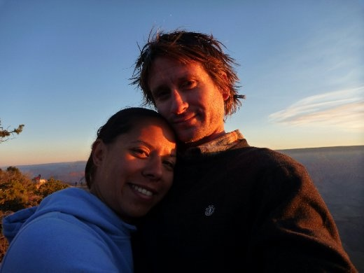 Us, stoked we got up to see the sun creep up over the Rim of the Canyon...spectacular!