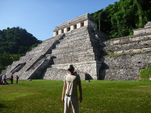 Cookie in front of the Templo de las Inscripciones...this houses the tomb of Pakal, closed to prevent damage