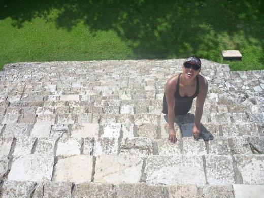 D carefully climbing up the Templo de la Cruz