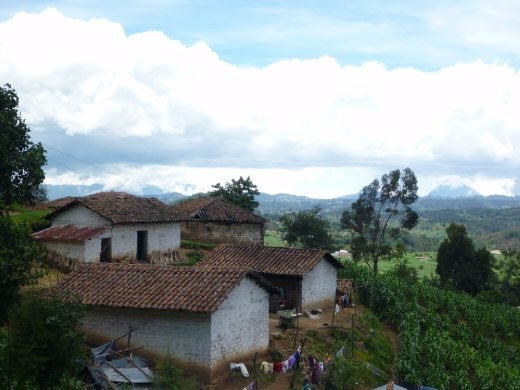 typical home, overlooking mountainous Guatemalan highlands