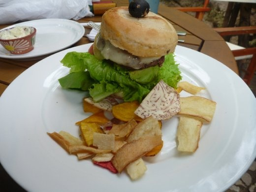 awesome gourmet burger at Sabe Rico using their fresh home grown ingredients