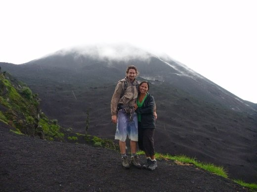 Us and what we could see of the volcano