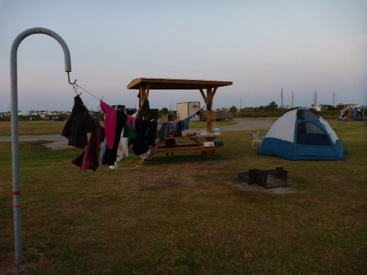 Washing day at our campsite in Galveston, Texas.