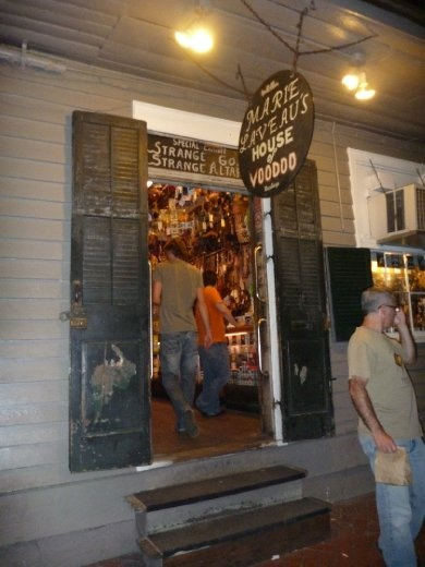 Voodoo Shop. The voodoo practice was brought in with slave ships but has mixed with Christianity over the years.
