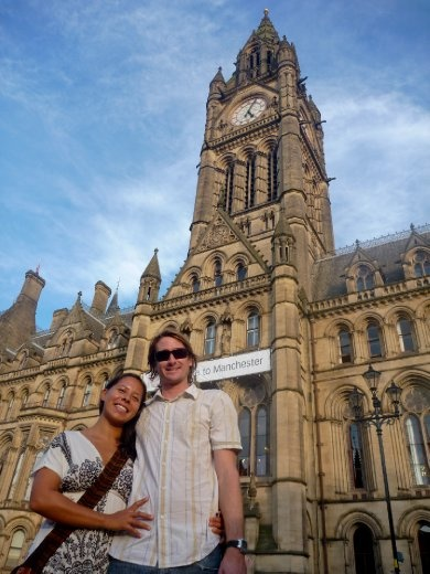 Us, in front of Manchester's Town Hall