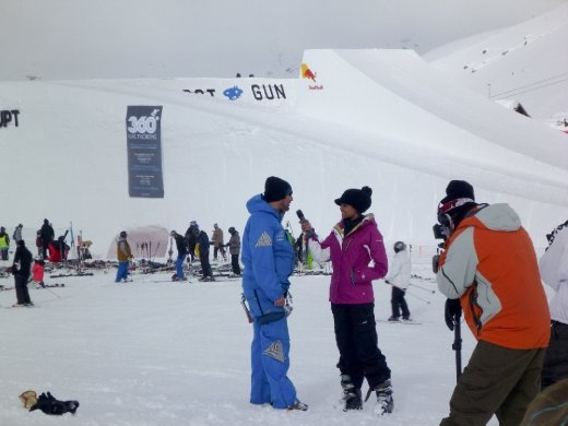 Red Bull big air comp media coverage at Val Thorens...skiers throwing down at one of the biggest jumps in the world