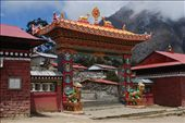 the gate to Tangboche Monastery, a very old and significant Tibetan Budhist monastery in the Khumbu: by brian-camille, Views[1083]