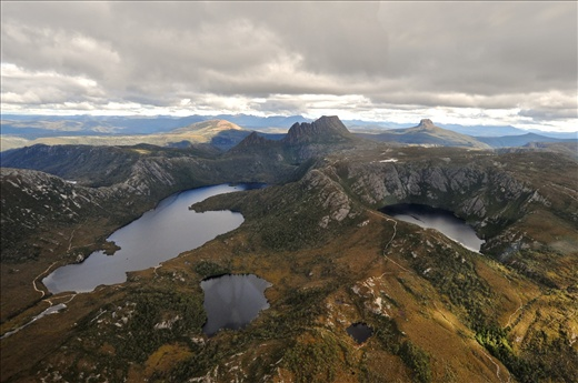 Cradle mountain lake, formed by melting glazier