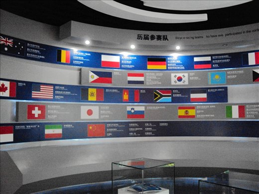 Qinghai museum showing off countries who participate in the annual bike race