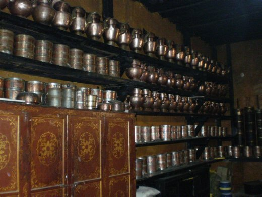 Plenty of copper in this kitchen - kettles, jugs, trays...