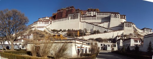 Potala Palace from the outside grounds showing living quarters of the many groundskeepers, cleaners, guards, etc